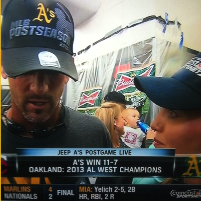 The A's Postgame Celebration Featured A Beer-Drinkin' Baby