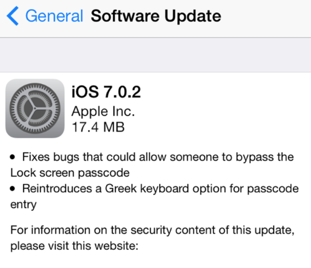 iOS 7.0.2 Is Here and It Fixes the iPhone's Major Security Hole