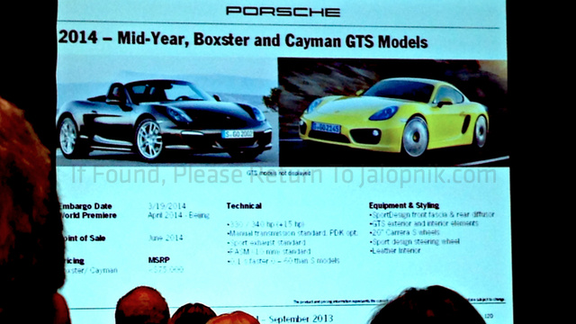 2014 Porsche Boxster And Cayman GTS Will Cost $75,000