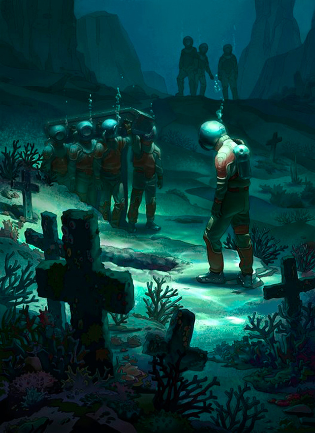 Concept Art Writing Prompt: A Funeral on the Ocean Floor