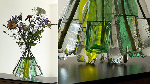 This 3D-Printed Web of Plastic Caps Turns Water Bottles Into a Vase
