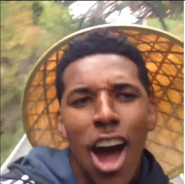 Nick Young Takes Video Selfie While Crashing His Toboggan