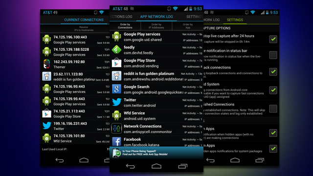 Network Connections Monitors and Logs Your Phone's Connections