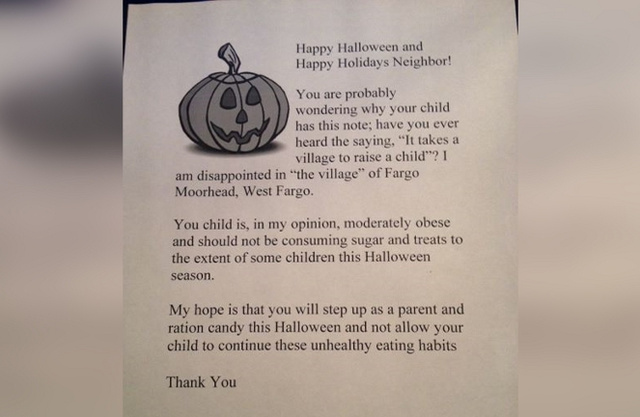 bad neighbor will hand out shaming letters to chubby kids