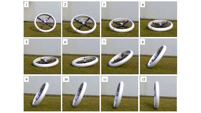 This Quadcopter Turns Into a Self-Balancing Rolling Wheel