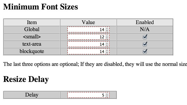 Minimum Font Eliminates Small Text from Web Pages