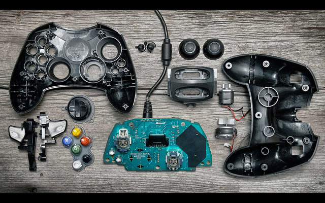 Deconstructed Gaming Controllers Reveal Gorgeous Old School Guts