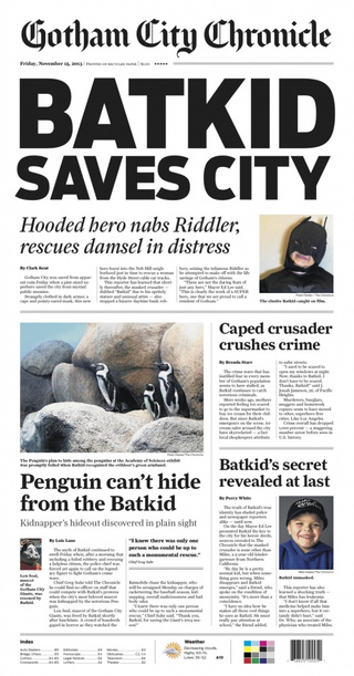 The SF Chronicle published a special Gotham-themed Batkid edition