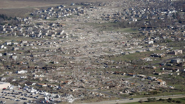 Aerial photos reveal the destructive path of the Midwest tornado