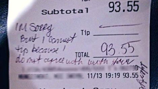 Waitress Who Faked Anti-Gay Receipt Also Lied About Giving to Charity