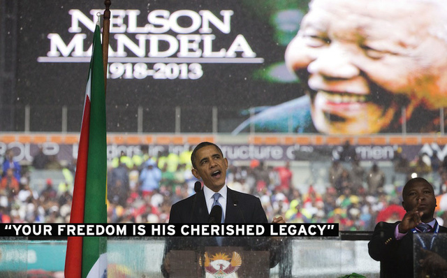 Obama, Tens of Thousands Honor Nelson Mandela at Rain-Soaked Memorial
