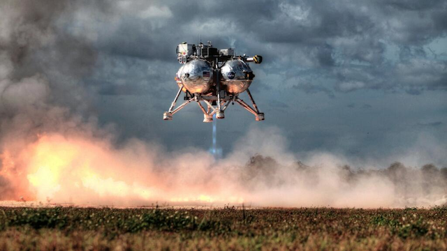 NASA's hovering lander looked beautiful at yesterday's test-launch