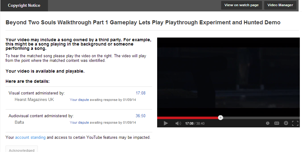 YouTube Copyright Chaos Continues. Game Publishers To The Rescue?