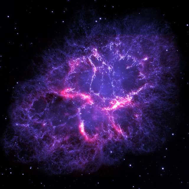 The Crab Nebula Is a Swirling Cloud of Electric Purple Light