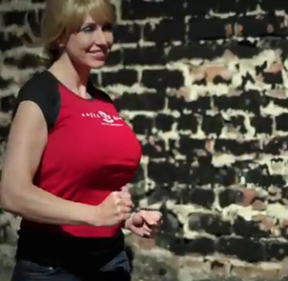 Kari Byron running in slow motion.
