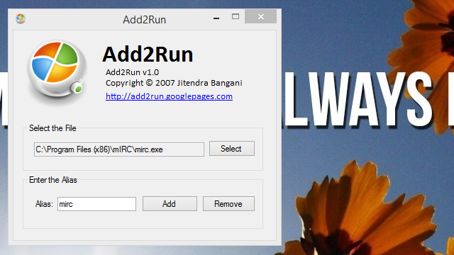 Add2Run Adds Custom App Aliases to the Run Dialog