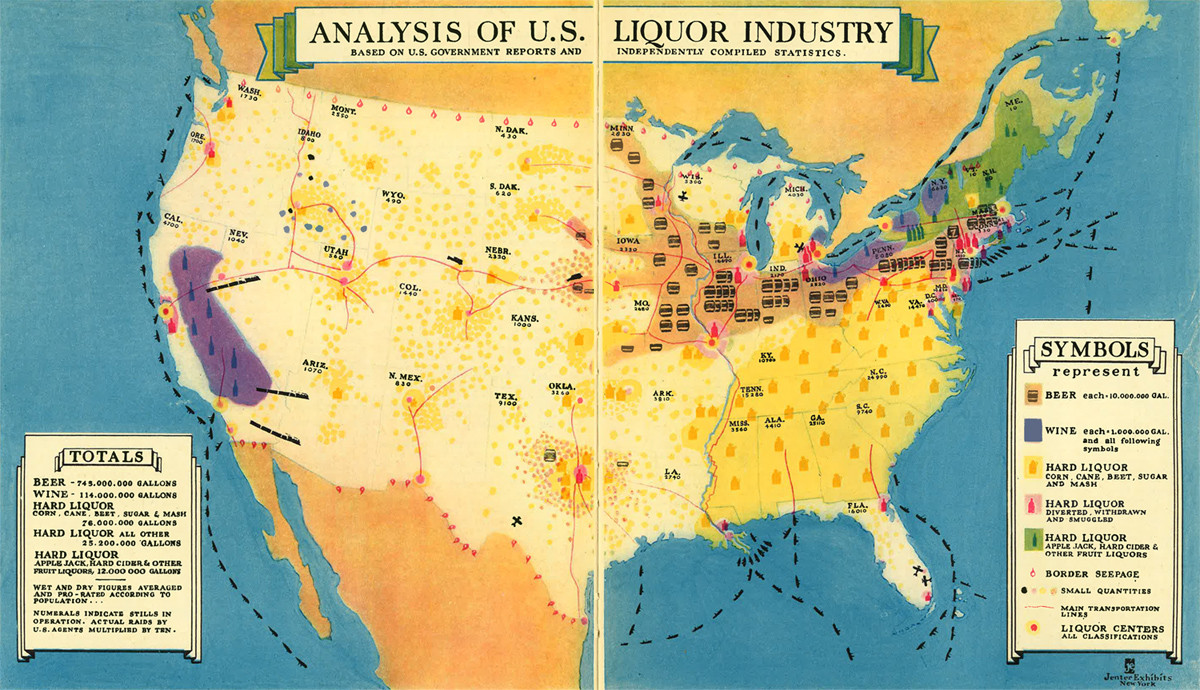 Cool Old Map How Did Your State Get Its Liquor During Prohibition - Map of the us in the prohibition