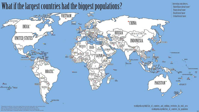 The map of the world if every country's population matched its size