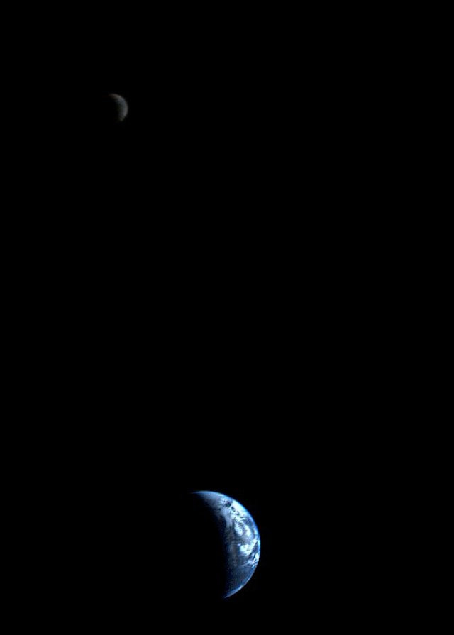 The first picture of the Earth and its moon in a single frame
