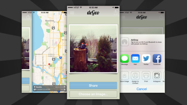 DeGeo Removes Location Data from iPhone Photos Before Sharing