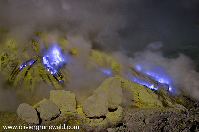 Spectacular blue lava flows at this Indonesian volcano
