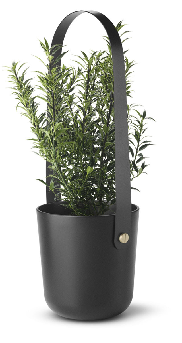 This Slick Steel Bucket Holds a Flame Or A Fern: Your Choice