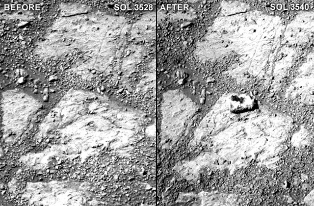 Rock mysteriously appears in front of the Mars Opportunity rover