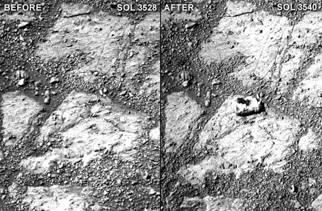 This mysterious rock just appeared in front of our rover on Mars