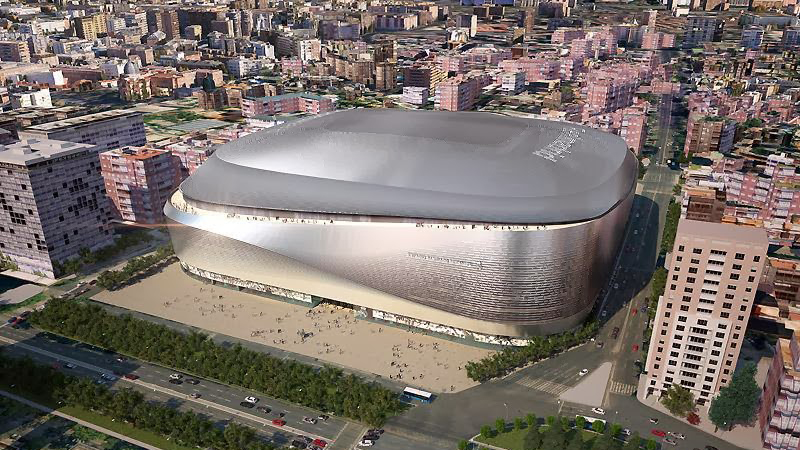 Real Madrid's new space age stadium is fully covered in titanium