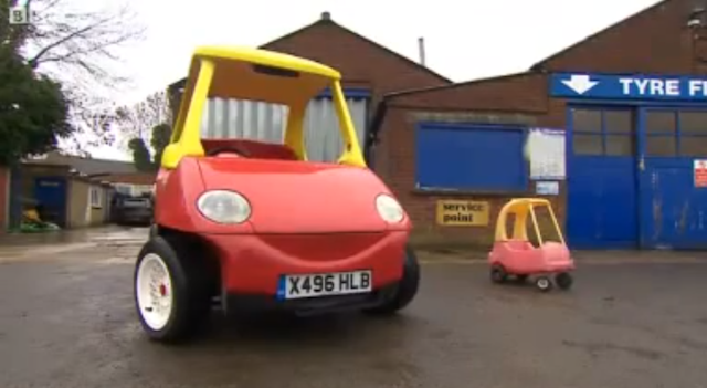 Adult-sized child made a street legal Little Tikes Car that goes 70mph