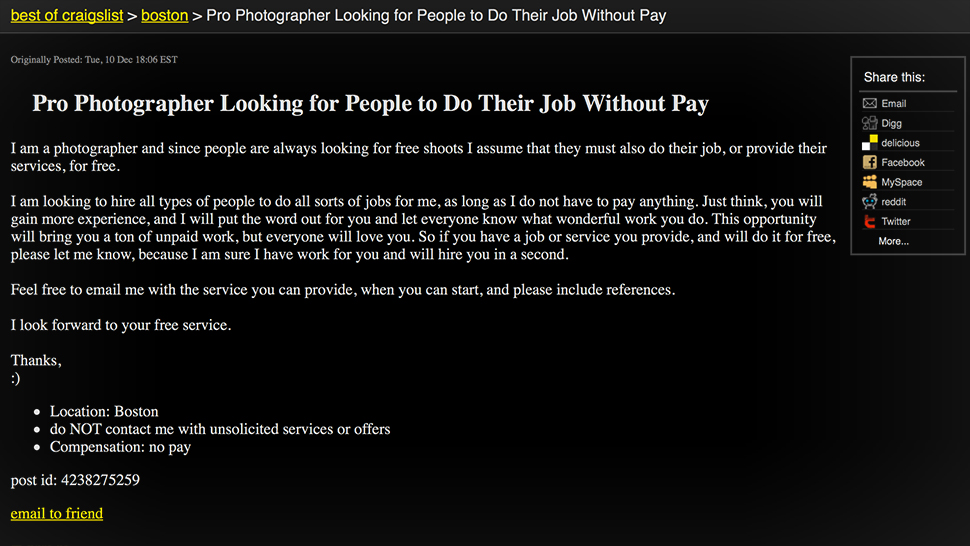 Pro Photographer Looks For People To Do Their Jobs Without Pay