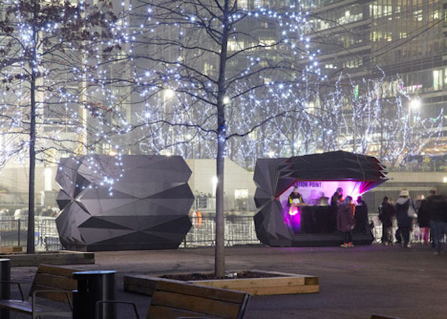 These Origami-Inspired Kiosks Fold Open and Closed Like Paper Fans