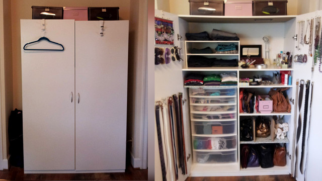 how to organise a lot of clothing in very little closet space lifehacker australia. Black Bedroom Furniture Sets. Home Design Ideas