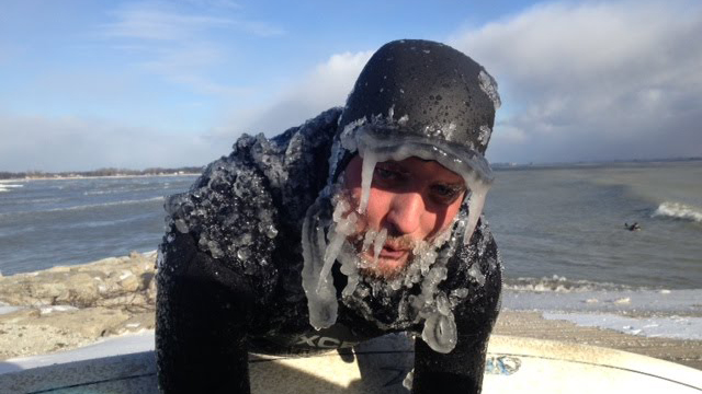These insane people like to surf in ice water