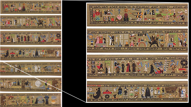 This $US20,000 30-foot tapestry tells the entire Star Wars saga