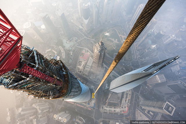 Stunning photos taken by the two Russian daredevils atop Shanghai Tower