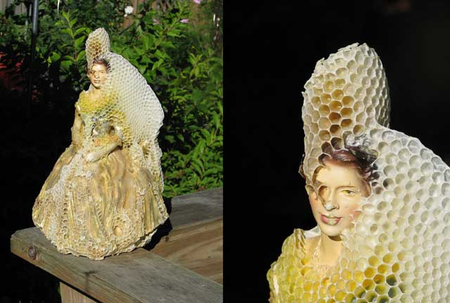 An Artist and Her Bees Create Beautiful Honeycomb-Draped Sculptures