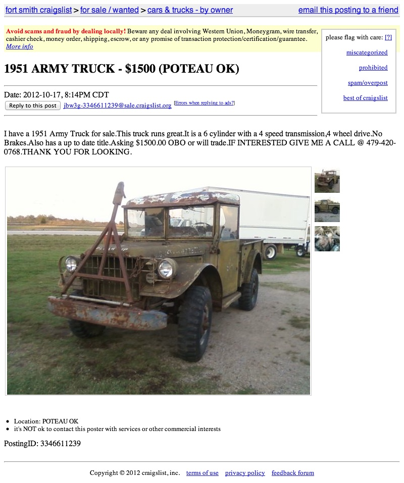 Craigslist Fort Smith http://jalopnik.com/5952872/for-1500-sound-off-like-youve-got-a-pair