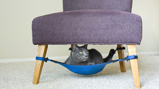 Under Chair Cat Hammock Keeps Fluffy off the Damn Furniture