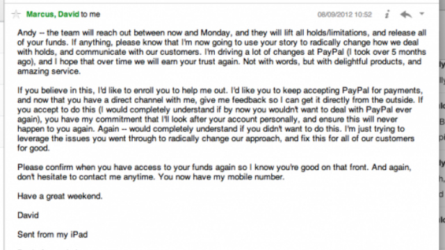 PayPal President Offers To Personally Help Customer, But Only After PayPal Froze $60,000 of His Money for Months