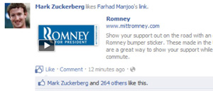 How Mark Zuckerberg Accidentally Endorsed Mitt Romney on Facebook