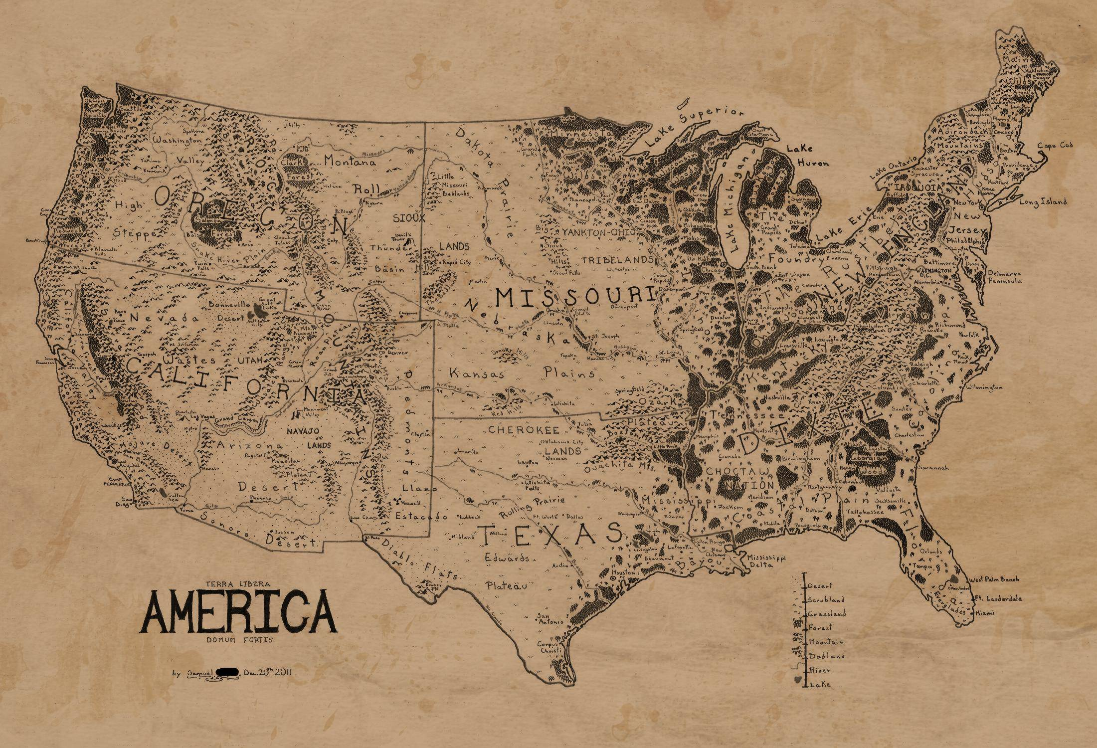 A map of the United States drawn in the style of Lord of the Rings – Lord of the Rings Map Middle Earth