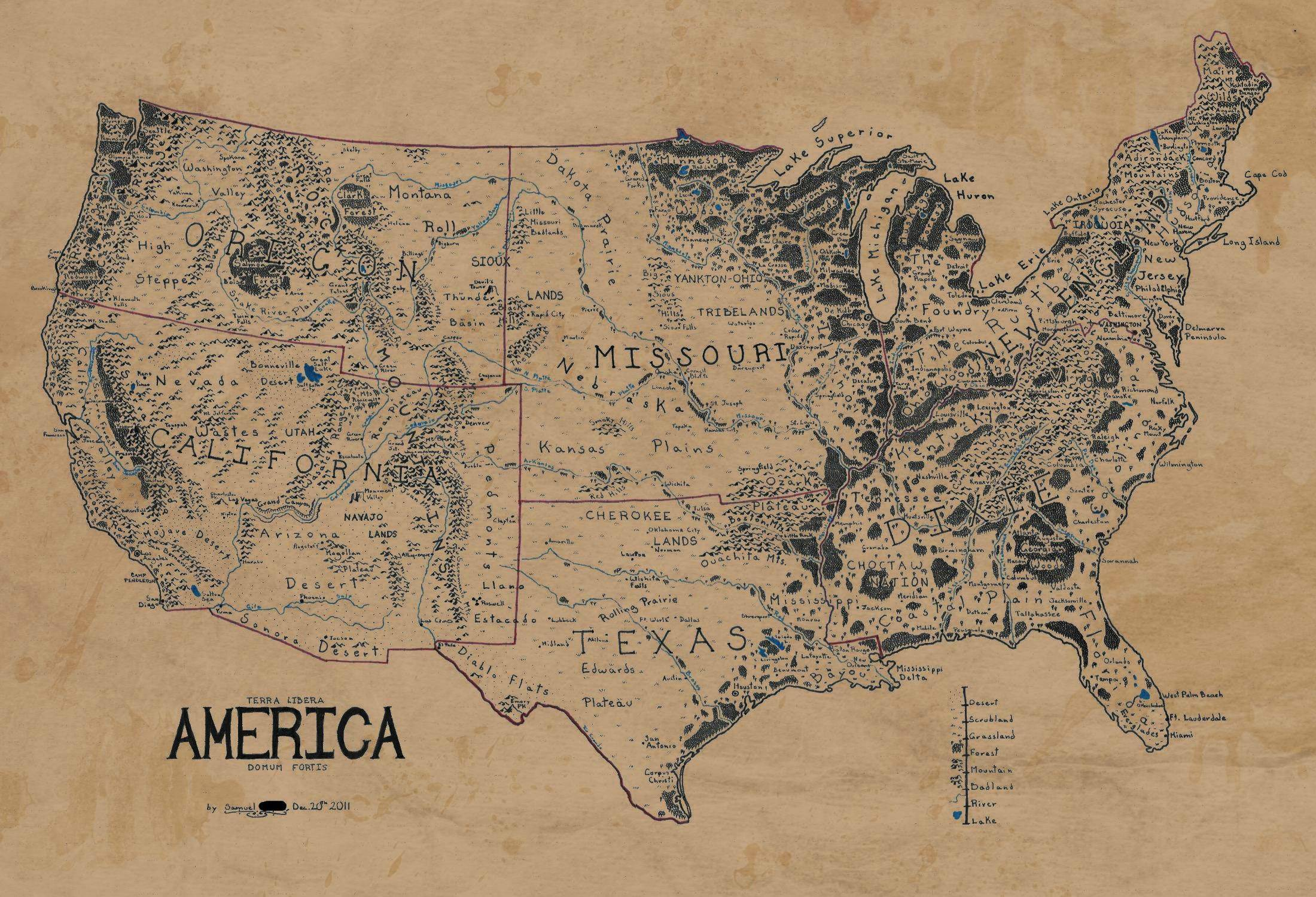 A Map Of The United States Drawn In The Style Of Lord Of The Rings - Map of us drawn by australian