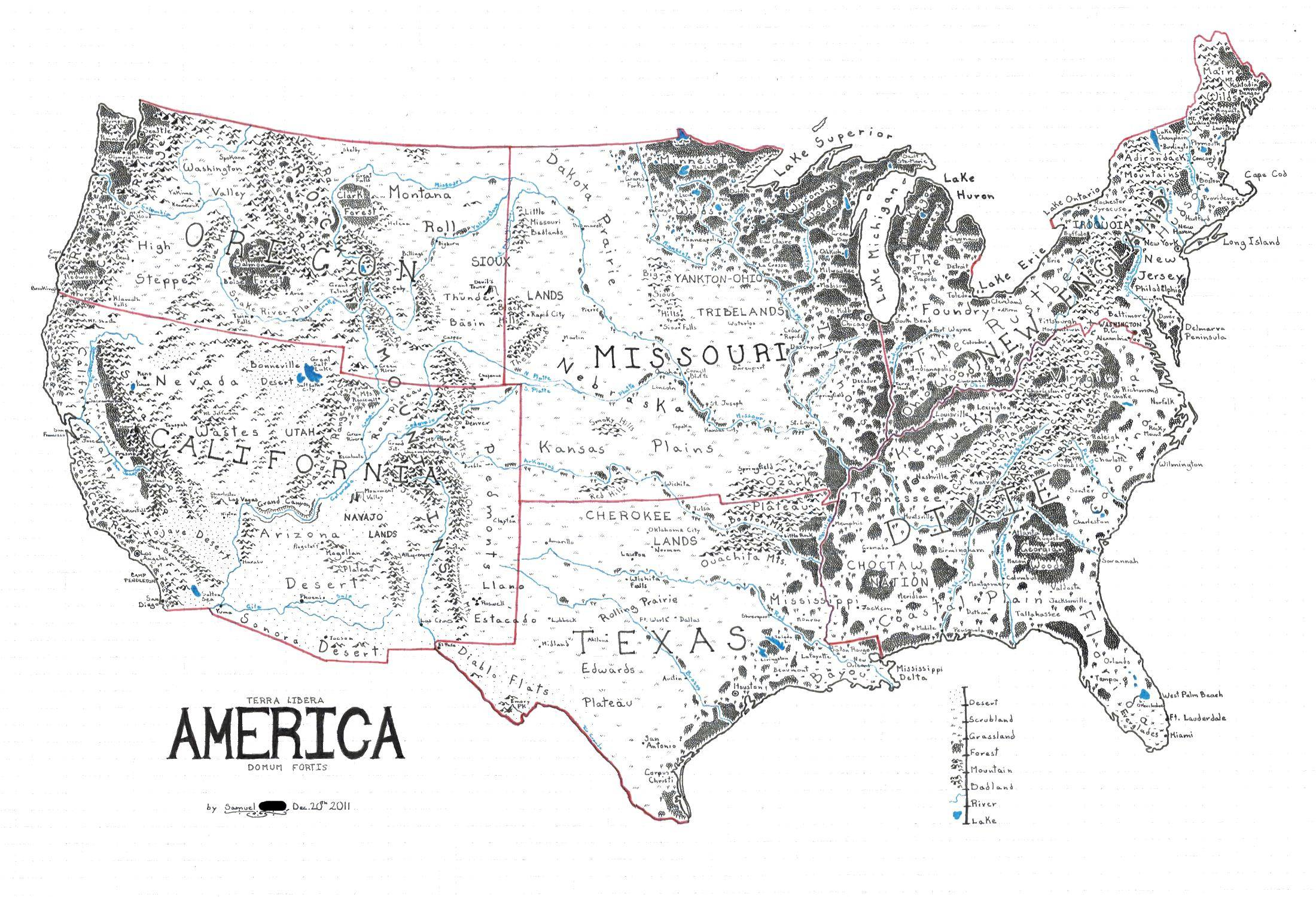 Line Drawing United States : A map of the united states drawn in style lord