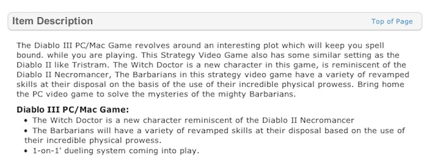 Wal-Mart's Hilarious Diablo III Product Description Reads Like a Sixth-Grade Book Report